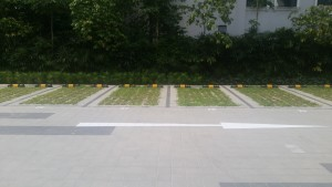 Carpark with square pavers