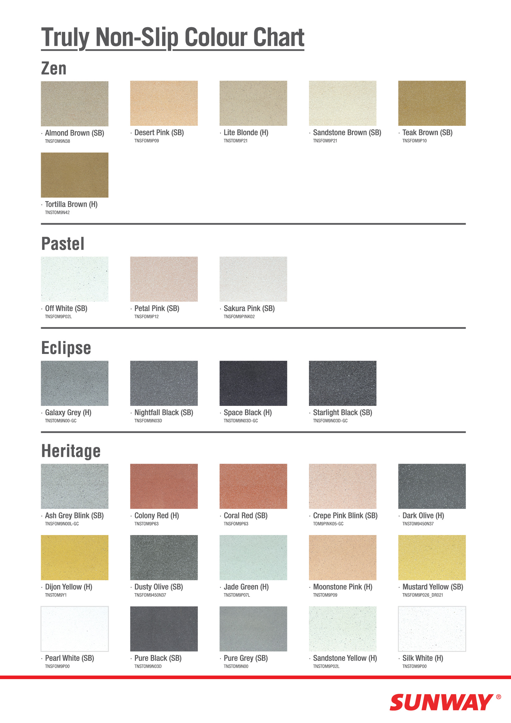 Concrete Tiles Truly Non Slip Colour Chart