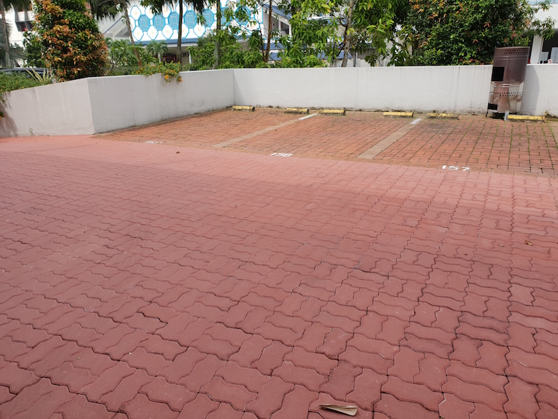 Concrete pavers at Driveway with old clay pavers at carpark lot